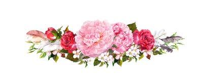 桃红色牡丹花、玫瑰和羽毛 在葡萄酒样式的水彩 库存图片