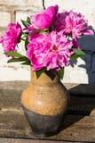 桃红色牡丹花束在土气木桌上的黏土水罐开花 库存图片