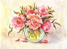 桃红色牡丹花束的水彩例证  葡萄酒后面 库存图片