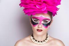桃红色狂欢节面具 库存照片