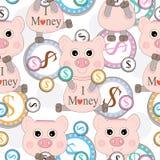 桃红色猪爱货币无缝的模式 库存图片