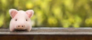 桃红色猪,贪心银行横幅 图库摄影