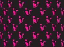 桃红色猫的无缝的样式在黑色的与明亮的颜色桃红色 图库摄影