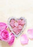 桃红色玫瑰为华伦泰假日开花,文本的框架 库存图片