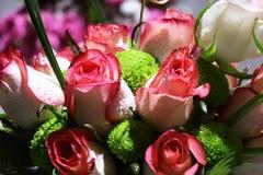 桃红色玫瑰典雅的花束特写镜头在绽放的 免版税图库摄影