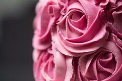 桃红色玫瑰华饰蛋糕 库存图片