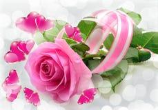 桃红色玫瑰和心脏 库存照片
