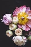 桃红色玫瑰和牡丹花束 免版税库存照片