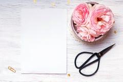 桃红色玫瑰和空的纸在白色桌上 库存图片