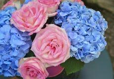 桃红色玫瑰和蓝色八仙花属花束  免版税库存图片