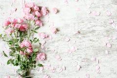 桃红色玫瑰开花在白色土气木背景的花束大模型 图库摄影