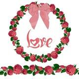 桃红色玫瑰无缝的刷子和花圈与字法的 库存例证