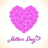 桃红色玫瑰母亲节心脏由紫色玫瑰做成在白色背景 花卉心脏形状传染媒介背景 免版税库存照片