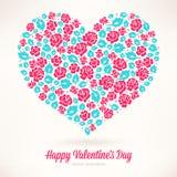 桃红色玫瑰的心脏 免版税图库摄影