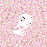 桃红色玫瑰的睡觉的妇女 库存例证