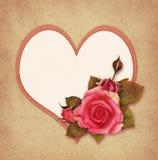 桃红色玫瑰花和心脏 库存图片