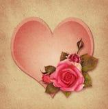 桃红色玫瑰花和心脏 免版税库存照片