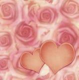 桃红色玫瑰花和心脏 图库摄影