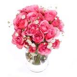桃红色玫瑰花束在白色背景隔绝的花瓶的 库存图片