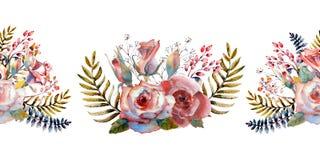 桃红色玫瑰,芽,叶子 重复夏天水平的边界 花卉水彩 o 向量例证