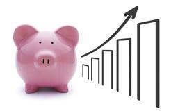 桃红色白色背景的猪存钱罐 免版税库存图片