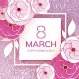 桃红色白色3月8日 愉快的妇女` s母亲` s天 蓝色卡片设计花卉问候 纸裁减罗斯花 Suqre框架 Origami雏菊 图库摄影