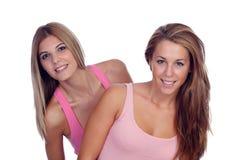桃红色的两个美丽的朋友 免版税库存图片