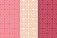 桃红色的几何套无缝的样式 免版税库存照片