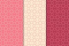 桃红色的几何装饰品 仿造无缝的集 免版税库存图片