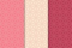 桃红色的几何装饰品 仿造无缝的集 库存照片