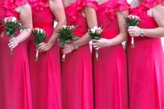 桃红色的女傧相 免版税图库摄影