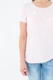 桃红色的妇女乳腺癌了悟的 库存图片