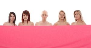 桃红色的妇女-乳腺癌Awereness 免版税库存图片