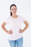 桃红色的微笑的妇女乳腺癌了悟的 库存照片