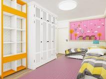 桃红色的舒适女孩` s卧室与衣橱和逗人喜爱的装饰在墙壁上 3d翻译 库存例证