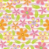 桃红色的葡萄酒和在桃红色和黄色镶边背景设计的桔子花无缝的样式织品的给背景穿衣 图库摄影