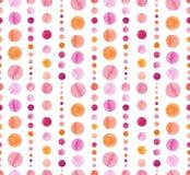 桃红色的水彩和桔子盘旋无缝的样式 库存照片