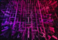 桃红色的3d和紫色求例证背景的立方 免版税库存图片