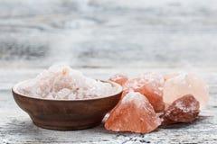 桃红色盐 库存照片