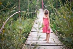 桃红色礼服的女孩在桥梁 库存照片