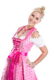 桃红色礼服的妇女 免版税图库摄影
