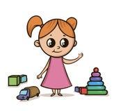 桃红色礼服的小女孩在玩具中的一个操场 在白色背景的被隔绝的传染媒介例证 大眼睛 库存照片
