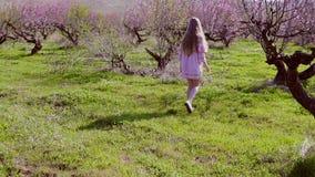 桃红色礼服的白肤金发的女孩在繁茂花园里走 影视素材