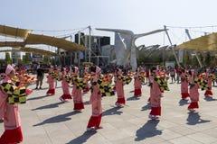 桃红色礼服的舞蹈家在商展的日本传统游行2015年 库存照片