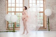 桃红色礼服飞行的肉欲的快乐的美丽的怀孕的年轻女人在热切站立在大窗口附近的风 免版税库存图片
