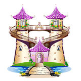 桃红色童话城堡 库存照片