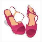 桃红色端庄的妇女` s凉鞋 库存照片