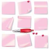 桃红色笔记和短的消息 免版税库存照片