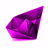 桃红色纸船, origami在白色背景的帆船 免版税库存照片