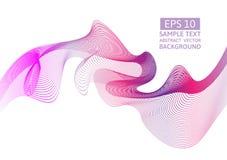 桃红色线波浪摘要与拷贝空间的传染媒介背景 皇族释放例证